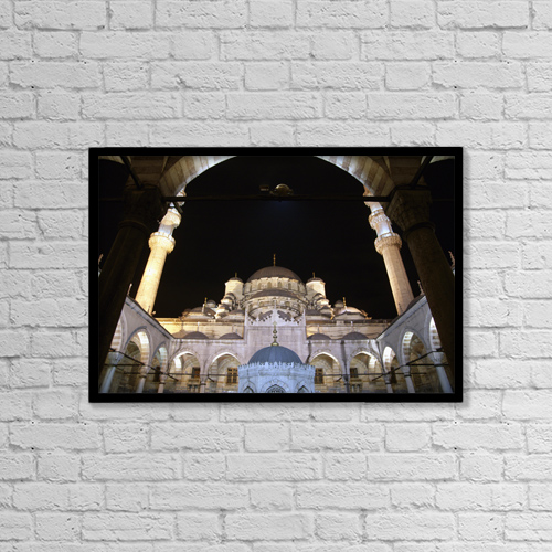 "Printscapes Wall Art: 18"" x 12"" Canvas Print With Black Frame - Mosque Yeni Camii At Night by Marc Jackson"