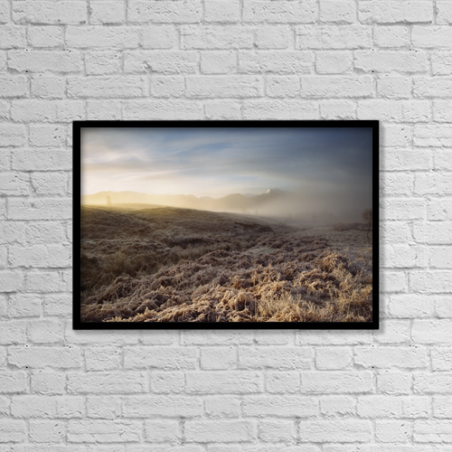 "Printscapes Wall Art: 18"" x 12"" Canvas Print With Black Frame - Frosted Fields And Misty Valley by Ian Cumming"