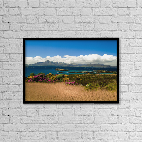 "Printscapes Wall Art: 18"" x 12"" Canvas Print With Black Frame - Gorse And Rhododendron Bushes Along Coast by Ellen Rooney"
