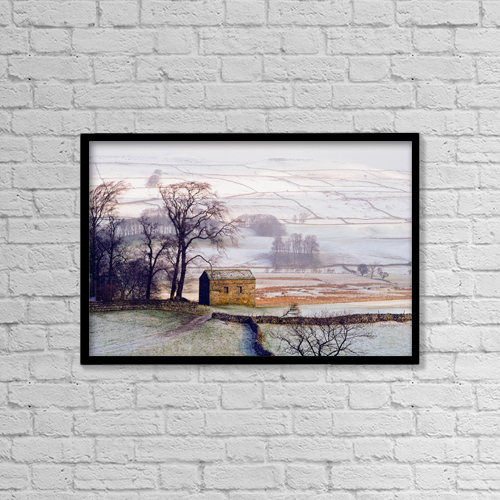 """Printscapes Wall Art: 18"""" x 12"""" Canvas Print With Black Frame - Snowy Landscape With Barn, Elevated View by Ellen Rooney"""