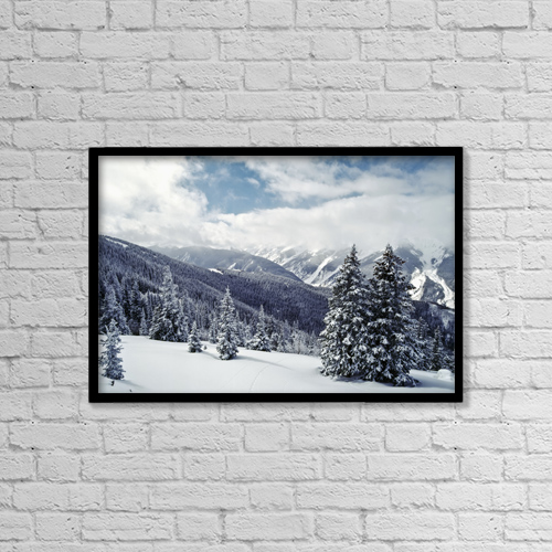 "Printscapes Wall Art: 18"" x 12"" Canvas Print With Black Frame - Snow Covered Pine Trees On Mountain by Chris Caldicott"