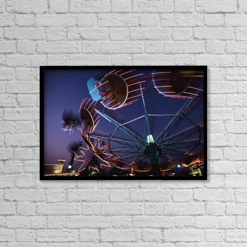 "Printscapes Wall Art: 18"" x 12"" Canvas Print With Black Frame - Montjuich Fun Fair At Night by George Wright"