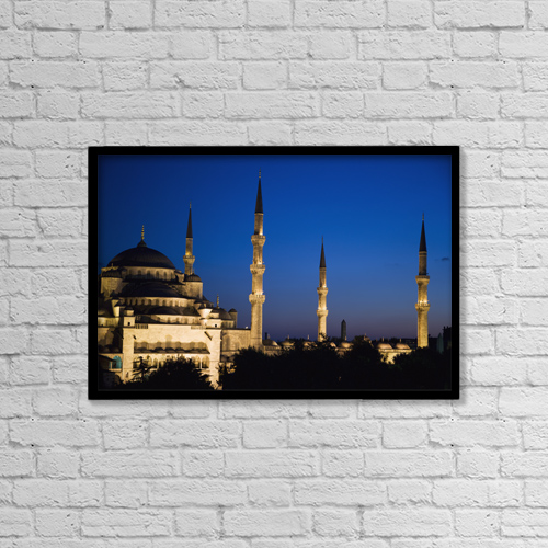 "Printscapes Wall Art: 18"" x 12"" Canvas Print With Black Frame - Blue Mosque At Dusk by Carlos Sanchez Pereyra"