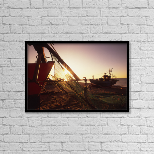 "Printscapes Wall Art: 18"" x 12"" Canvas Print With Black Frame - Fishing Boats And Nets On The Stade At Dawn by Chris Parker"