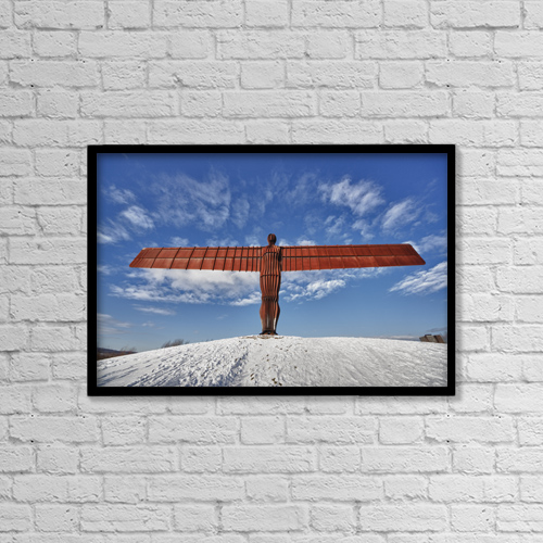"""Printscapes Wall Art: 18"""" x 12"""" Canvas Print With Black Frame - Angel Of The North Sculpture by John Short"""