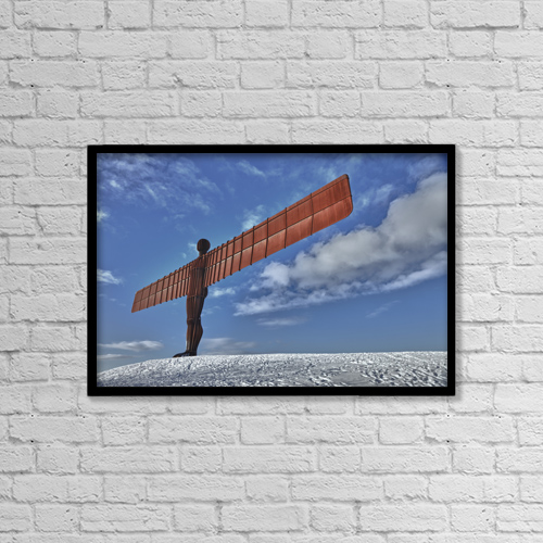 "Printscapes Wall Art: 18"" x 12"" Canvas Print With Black Frame - Angel Of The North Sculpture by John Short"
