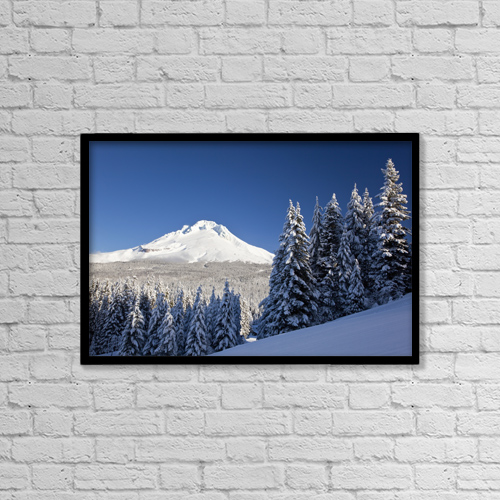 "Printscapes Wall Art: 18"" x 12"" Canvas Print With Black Frame - Winter Snow Over The Cascade Range by Craig Tuttle"