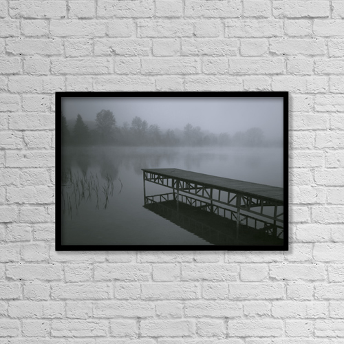 """Printscapes Wall Art: 18"""" x 12"""" Canvas Print With Black Frame - Dock With Fog Over Lake by Millan Knapik"""