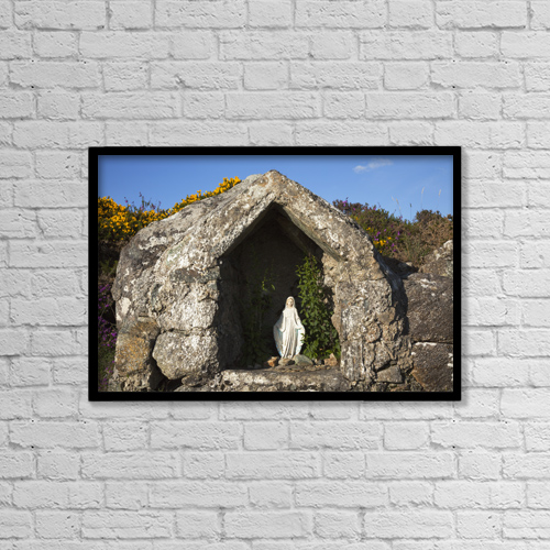 "Printscapes Wall Art: 18"" x 12"" Canvas Print With Black Frame - Virgin Mary Grotto by Peter Zoeller"
