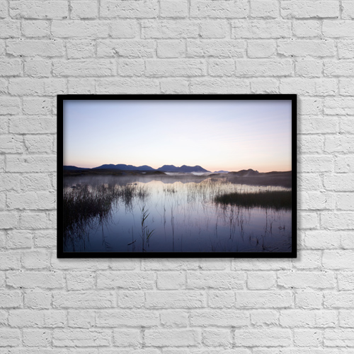 "Printscapes Wall Art: 18"" x 12"" Canvas Print With Black Frame - Sunrise Over Bog Lake by Peter Zoeller"