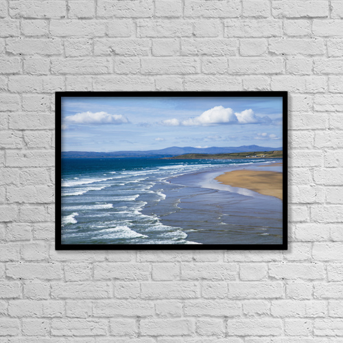 "Printscapes Wall Art: 18"" x 12"" Canvas Print With Black Frame - Waves On Beach by Peter Zoeller"