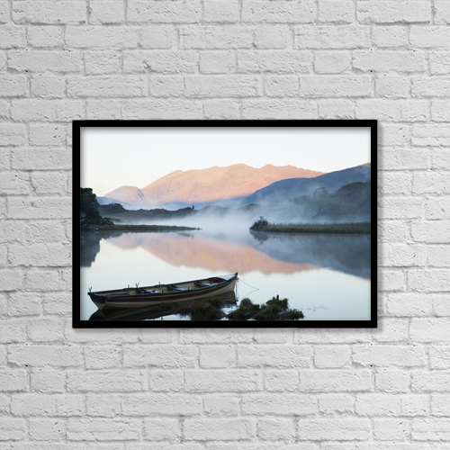 "Printscapes Wall Art: 18"" x 12"" Canvas Print With Black Frame - Boat On A Tranquil Lake by Peter Zoeller"