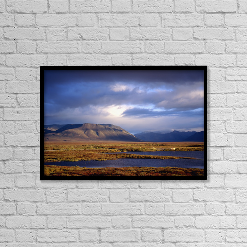 "Printscapes Wall Art: 18"" x 12"" Canvas Print With Black Frame - Mountains And Lakes, Dempster Highway by Chris Coe"