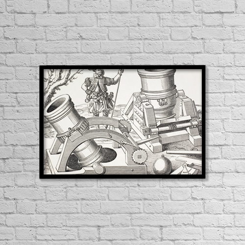 "Printscapes Wall Art: 18"" x 12"" Canvas Print With Black Frame - 16Th Century Mortars On Moveable Carriages by Ken Welsh"