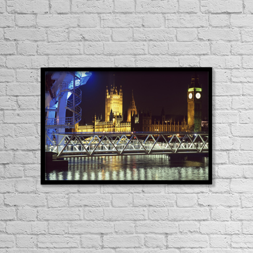"""Printscapes Wall Art: 18"""" x 12"""" Canvas Print With Black Frame - Architectural Exteriors by Charles Bowman"""