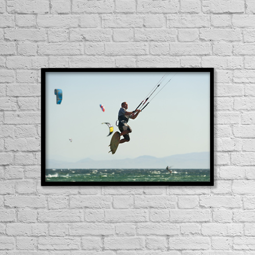 "Printscapes Wall Art: 18"" x 12"" Canvas Print With Black Frame - Kitesurfing; Tarifa, Cadiz, Andalusia, Spain by Ben Welsh"