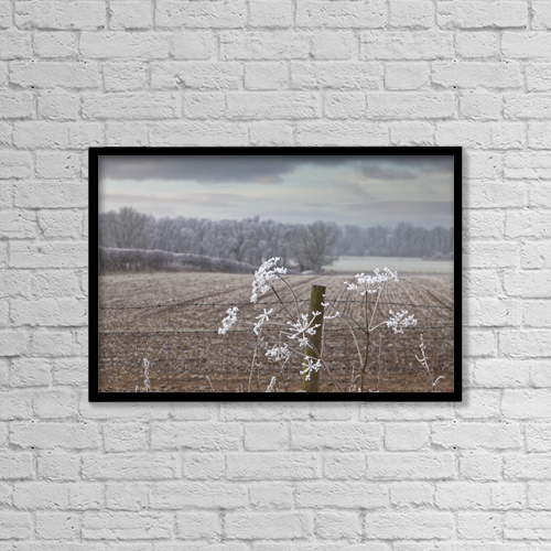 "Printscapes Wall Art: 18"" x 12"" Canvas Print With Black Frame - Frost-Covered Rural Field; Cumbria, England by John Short"