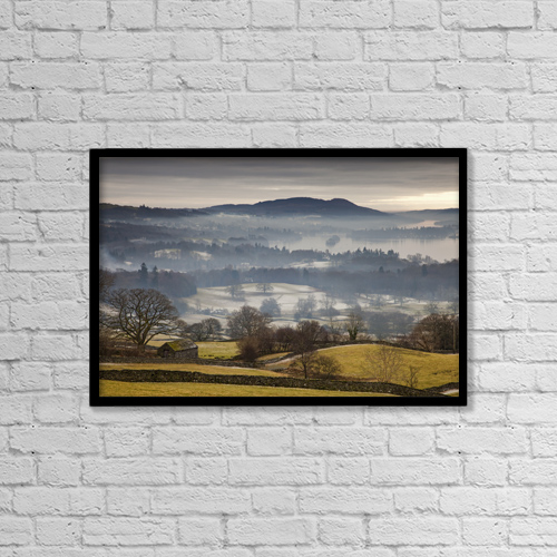 """Printscapes Wall Art: 18"""" x 12"""" Canvas Print With Black Frame - Fog Over The Landscape; Cumbria, England by John Short"""