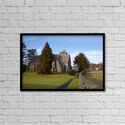 "Printscapes Wall Art: 18"" x 12"" Canvas Print With Black Frame - A Church Building; Cumbria, England by John Short"