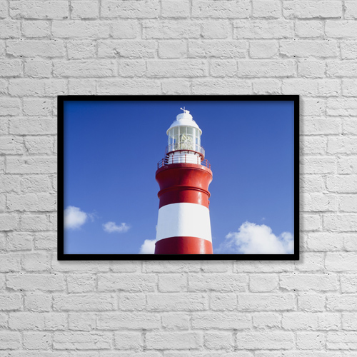 "Printscapes Wall Art: 18"" x 12"" Canvas Print With Black Frame - Lighthouse,Cape Agulhas,South Africa by Ian Cumming"