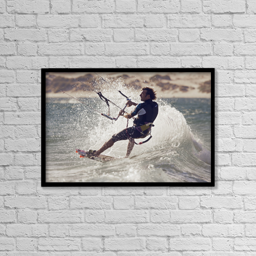 "Printscapes Wall Art: 18"" x 12"" Canvas Print With Black Frame - A Man Kitesurfing by Ben Welsh"