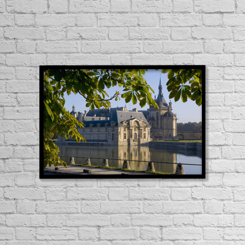 "Printscapes Wall Art: 18"" x 12"" Canvas Print With Black Frame - Chateau De Chantilly by Charles Bowman"