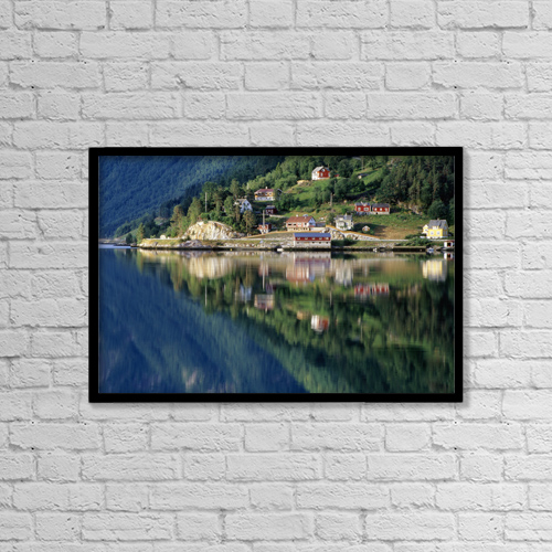 """Printscapes Wall Art: 18"""" x 12"""" Canvas Print With Black Frame - Mountain Reflected In Lake by Chris Coe"""