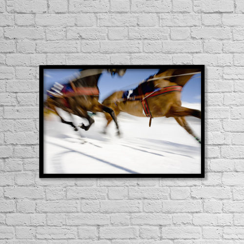 "Printscapes Wall Art: 18"" x 12"" Canvas Print With Black Frame - Ski Joring Race by Vicki Couchman"