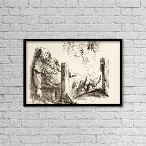 "Printscapes Wall Art: 18"" x 12"" Canvas Print With Black Frame - A Man In Stocks by Ken Welsh"