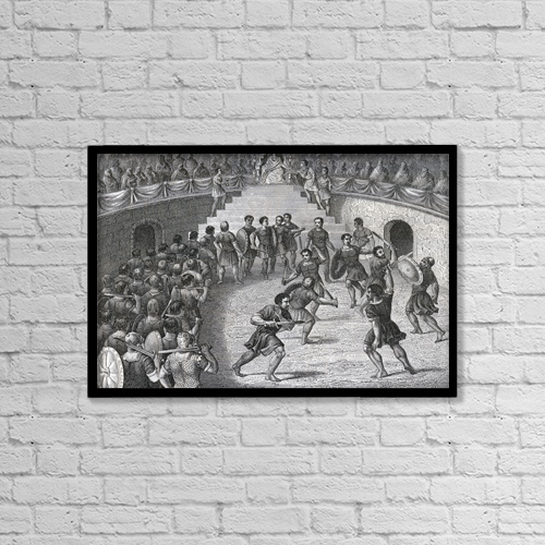 "Printscapes Wall Art: 18"" x 12"" Canvas Print With Black Frame - Gladiators Fighting In The Ring In Ancient Rome by Ken Welsh"