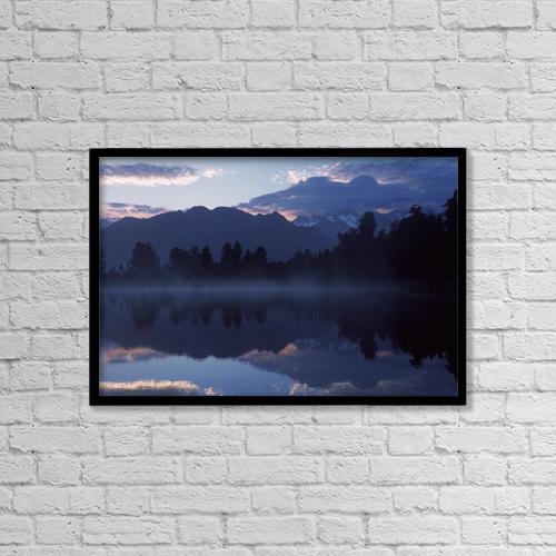 "Printscapes Wall Art: 18"" x 12"" Canvas Print With Black Frame - Lake Matheson At Dawn by Ian Cumming"