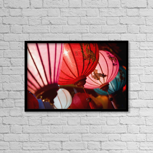 "Printscapes Wall Art: 18"" x 12"" Canvas Print With Black Frame - Silk Lanterns Illuminated At Night In Hoi An by Toby Adamson"
