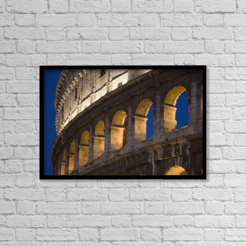 "Printscapes Wall Art: 18"" x 12"" Canvas Print With Black Frame - View Of The Roman Coliseum In Rome by Carlos Sanchez Pereyra"