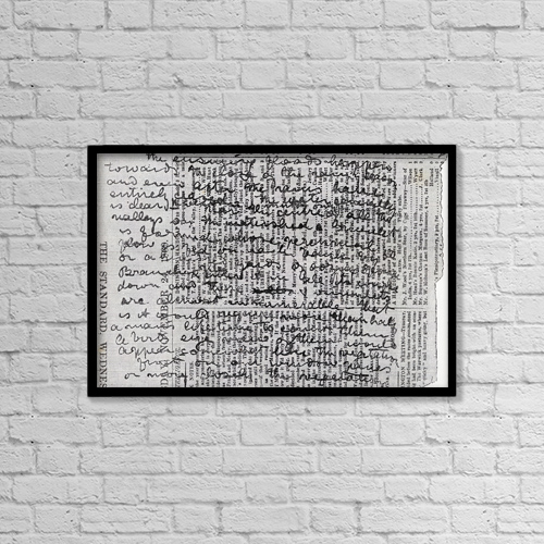 """Printscapes Wall Art: 18"""" x 12"""" Canvas Print With Black Frame - Fragment Of Stanley's Diary by Ken Welsh"""