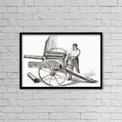 "Printscapes Wall Art: 18"" x 12"" Canvas Print With Black Frame - Revolving Cannon Patented By J by Ken Welsh"