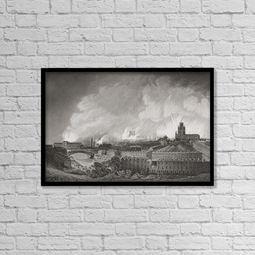 "Printscapes Wall Art: 18"" x 12"" Canvas Print With Black Frame - Bristol, England, During The Riots In 1831 by Ken Welsh"