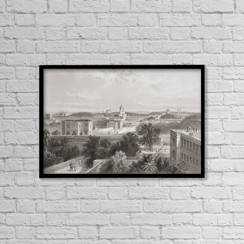 "Printscapes Wall Art: 18"" x 12"" Canvas Print With Black Frame - Lucknow, India, From A 19Th Century Print by Ken Welsh"
