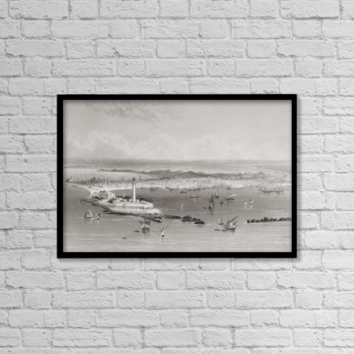 """Printscapes Wall Art: 18"""" x 12"""" Canvas Print With Black Frame - Alexandria, Egypt From A 19Th Century Print by Ken Welsh"""