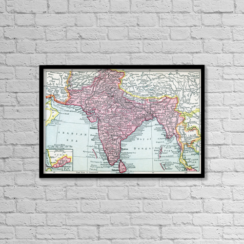 "Printscapes Wall Art: 18"" x 12"" Canvas Print With Black Frame - The Indian Empire And Ceylon Circa 1930 by Ken Welsh"