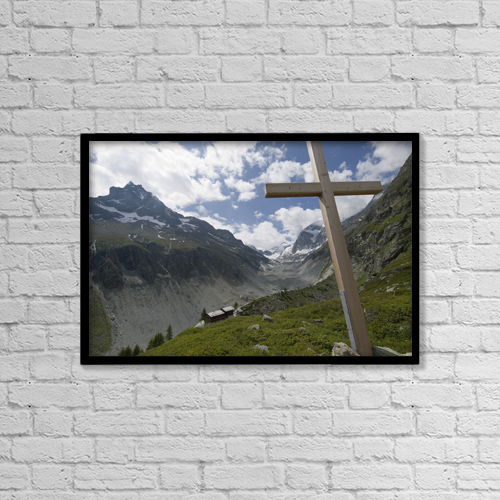 """Printscapes Wall Art: 18"""" x 12"""" Canvas Print With Black Frame - Summer in the mountains by Penny Kendall"""