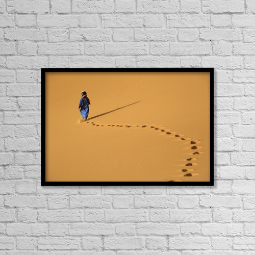 "Printscapes Wall Art: 18"" x 12"" Canvas Print With Black Frame - Merzouga, Morocco by Ian Cumming"