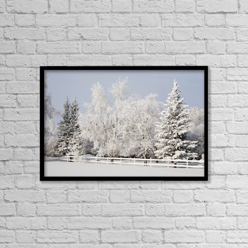 "Printscapes Wall Art: 18"" x 12"" Canvas Print With Black Frame - Trees Covered With Snow And Frost by Michael Interisano"