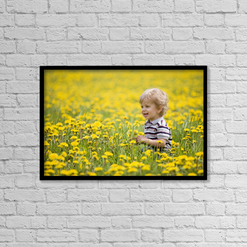 "Printscapes Wall Art: 18"" x 12"" Canvas Print With Black Frame - 18-Month-Old Boy In Dandelion Field by Susan Dykstra"