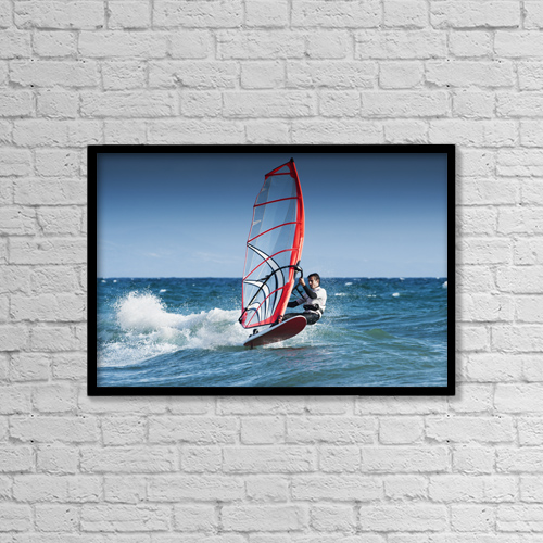 "Printscapes Wall Art: 18"" x 12"" Canvas Print With Black Frame - Windsurfing Off The Coast At Hotel Dos Mares by Ben Welsh"