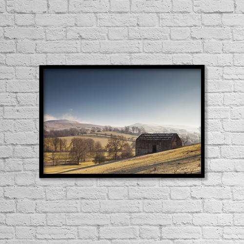 "Printscapes Wall Art: 18"" x 12"" Canvas Print With Black Frame - A Barn On A Hilly Landscape In The Fog by John Short"