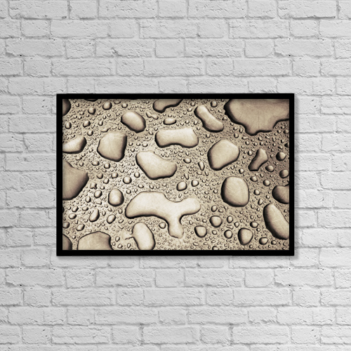 "Printscapes Wall Art: 18"" x 12"" Canvas Print With Black Frame - Rain Water On Metal Sheet by Ken Welsh"