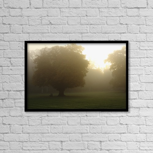 "Printscapes Wall Art: 18"" x 12"" Canvas Print With Black Frame - Misty Morning In Cahir In The Munster Region by Trish Punch"