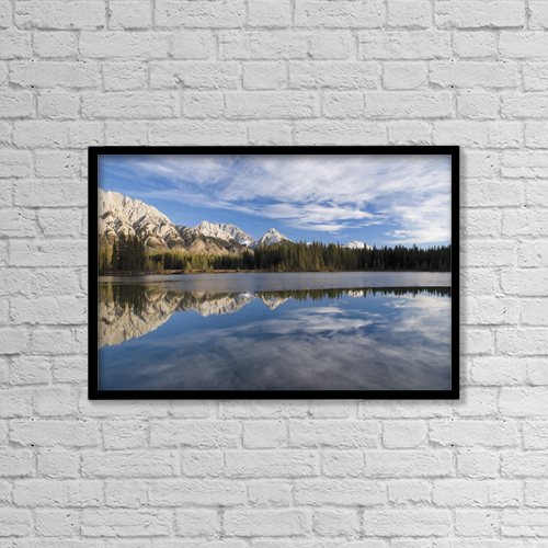 """Printscapes Wall Art: 18"""" x 12"""" Canvas Print With Black Frame - Spillway Lake In Kananaskis Country by Philippe Widling"""