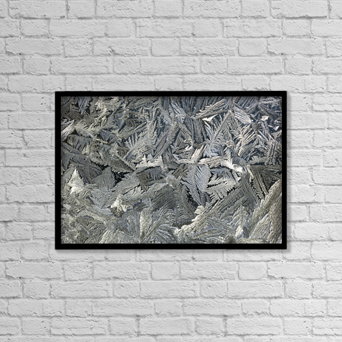 "Printscapes Wall Art: 18"" x 12"" Canvas Print With Black Frame - Frost Crystals On A Window by Michael Interisano"