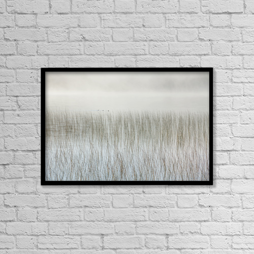 "Printscapes Wall Art: 18"" x 12"" Canvas Print With Black Frame - Mist On A Lake With Reeds; Ontario, Canada by Susan Dykstra"
